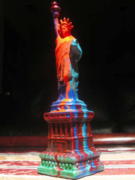 Paint-Splattered Statues