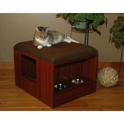 All-In-One Feline Stations - Cat Quarters Litter Box Enclosure Has Everything Kitty Needs
