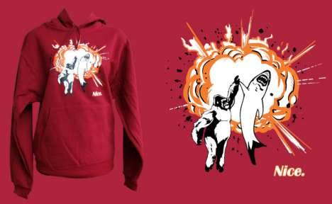 Epic High Five Shirts - A Gorilla and Shark Unite on the High Five Hoodie