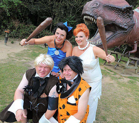 Cartoon-Inspired Nuptials - 2 Couples Yabba Dabba Do a Double 'Flintstones' Wedding