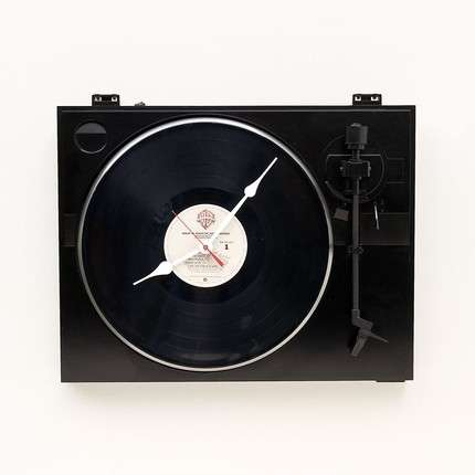 Clocks for DJs - The Turntable Clock is Made of Recycled Material
