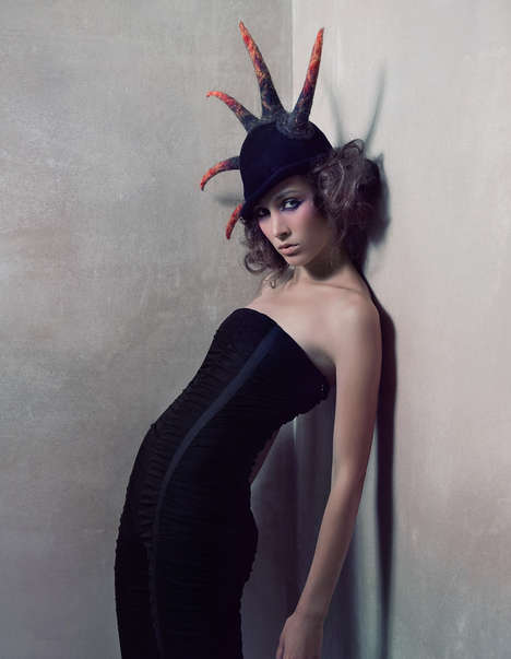Spiked Cloche Hats - Avant-Garde Headwear in Andrey Yakovlev & Lili Aleeva's 'Dusty Butterflies'