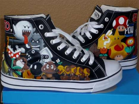 DIY Hand Painted Sneakers - Rachelle Williams Makes Super Mario Bros High-Tops