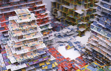 "Lottery Ticket Towers - Jean Shin Collects Discarded ""Scratch & Win"" Cards"