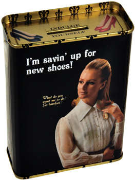 Divalicious Piggy Banks - Chic Retro Cans With Oxymoronic Savings Slogans