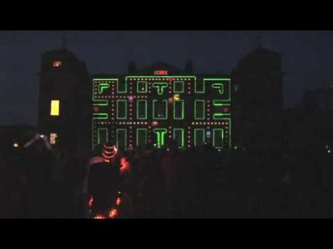 Pac-Man Projections - The Darkroom Motion Graphics Display Video Mapped Moving Images on a Map
