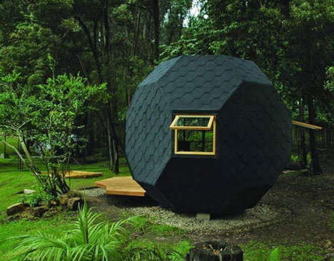 Real Life Hobbit Havens - The Habitable Polyhedron is a Family Retreat Playhouse