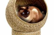 Feline Banana Leaf Basket Bed