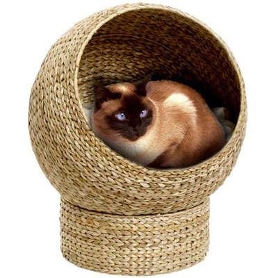 Feline Banana Leaf Basket Bed