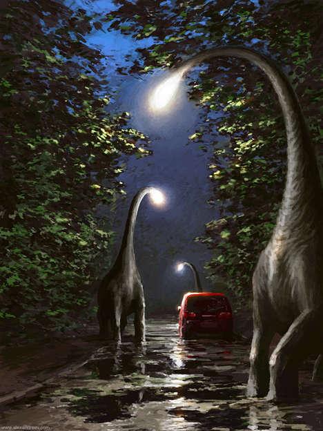 Dinosaur Street Lights