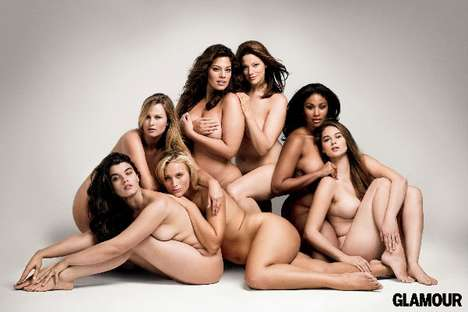 Glamorizing Diverse Body Types - Plus Size Models Galore Appear in Glamour Magazine's October Issue