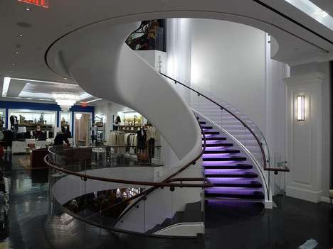 Floating Staircases - Stairs are the Crown Jewel at 5th Ave. Tommy Hilfiger Store