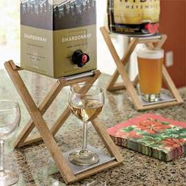 Liquorlicious Boxed Wine Stands - Foldable Oak and Stainless Perch for Liquor Dispensing Ease