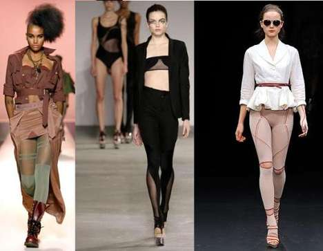 Sheer Opaque Tights - Funky Hosiery Hits the Runways for Spring