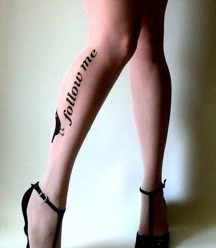 "Social Network Stockings - Twitter Leggings Proclaim ""Follow Me"" On Each Leg"