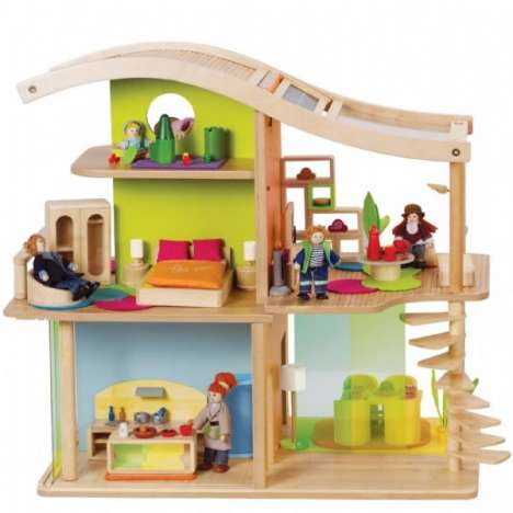 Eco-Friendly Toy Homes - Solar Powered Bamboo Dollhouse Pleases Children and Saves Planet