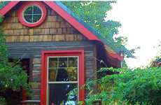 Rustic Sustainable Cottages - Portland Garden Cottages Incorporate Found Materials
