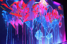 Luminous Floral Graffiti - The Spectacular Fluorescent, Black Lit Artwork of Que Houxo