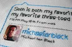Twitter Needlepoint - Julie Zidel of TweetStitch Turns Tweets Into Crafts
