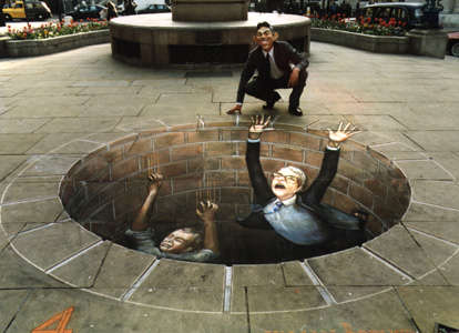 3D Illusion Chalk Drawings