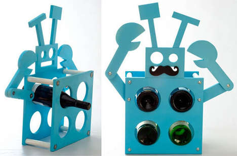 Robot Wine Holders - Add a Moustache to This Unique Wine Rack
