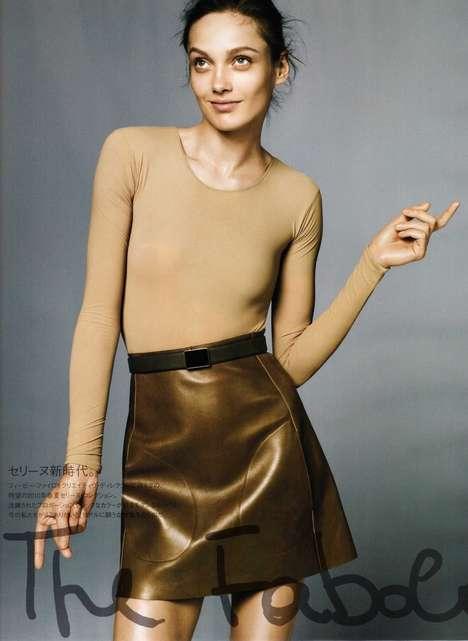 Nude Metallic Miniskirts