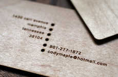 Wooden Business Cards - Cody Maple's Self-Promotion Involves Laser-Etched Maple Wood