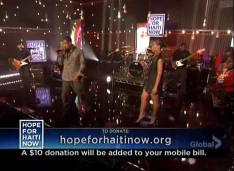 Charitable Earthquake Anthems - Rihanna, Jay-Z and Bono Perform 'Stranded' at Hope for Haiti Now