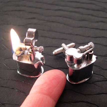 Lighter Cuff Links - Torch Powered Tuxedo Gear is a Spark of Innovation