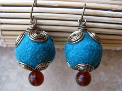 Wool Bead Baubles - Southern Dutch Girl's Twirly Teal Earrings Give You a Pop of Color