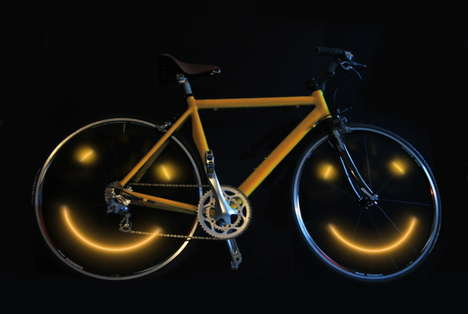 Smiling Bicycles - LED Artist Turns Cycling into a True Joyride