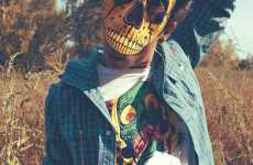 Rebellious Spring Fashion - See Skeleton Masks in the 55DSL Spring/Summer Line Ads