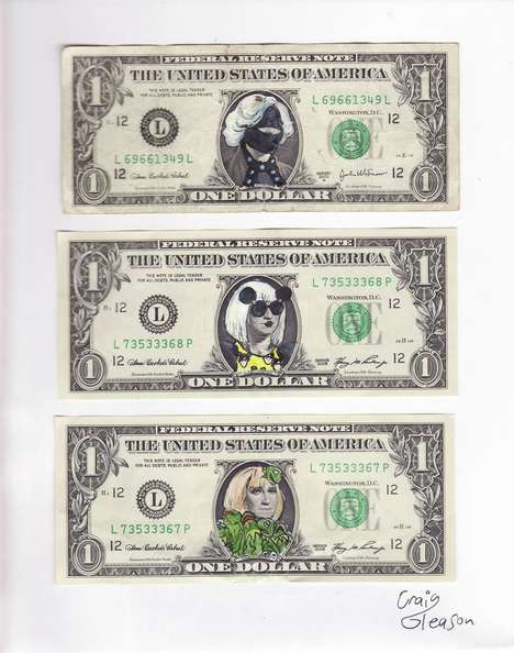 Pop Star Currency - Craig Gleason Shows off the Many Sides of Lady Gaga on Dollar Bills