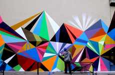 Vibrant Geometric Graffiti - 'Crystals and Lasers' by Matt W Moore is Prismatic Fantastic