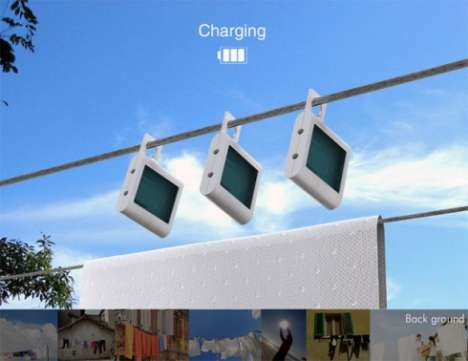 Hanging Solar Chargers - Sunbox Solar Panels Can Be Hung on a Standard Clothesline