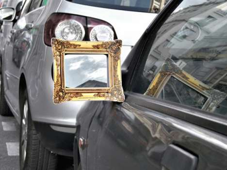 Framed Side Mirrors - An Auto-Beautifying Guerrilla Marketing Campaign