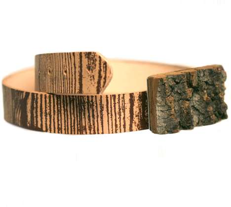 Lumberjack Wooden Belts - A Wood Grain Leather Belt and Bark Buckle from You and Me The Royal We