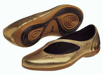 Sporty Gold Ballerinas - Puma Nuala Metallic Slip-On Yoga Shoes