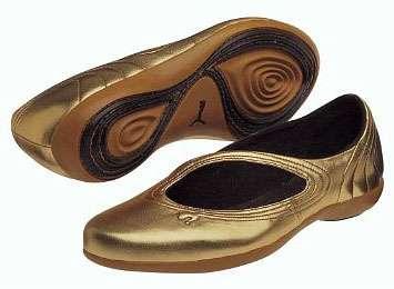 Sporty Gold Ballerinas Puma Nuala Metallic Slip On Yoga Shoes