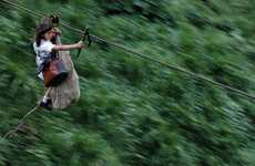 Zipline School Commutes - Photos Capture Columbia's Kids Using Flying Fox Commuting