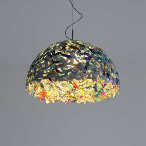 Media Trash Fixtures - The Upcycled Data Pendant Light Made from CDs and DVDs
