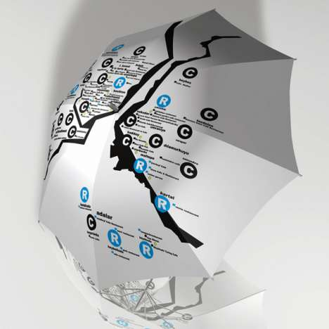 Informative Rain Protectors - The Umbrella Guide Master Keeps Out the Water and Disorientation