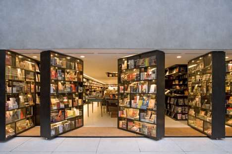 Swiveling Bookshelf Entrances - The Da Vila Bookstore by Isay Weinfeld Looks Like a Secret Entrance