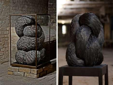 Ferocious Feather Sculptures