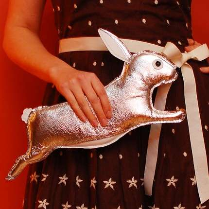 Easter Rabbit Purses - The Orwell Clutch Silver Rabbit Purse by Tsuru Bride