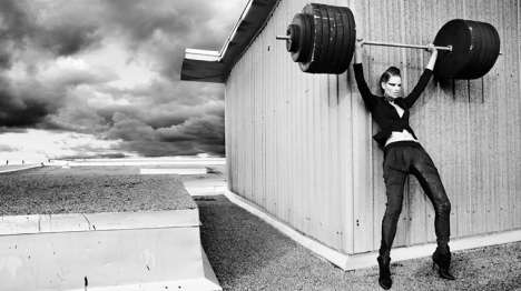 Powerlifting Models - Style Sense 'Work It Out' Editorial Shoot is Dramatic and Sensual