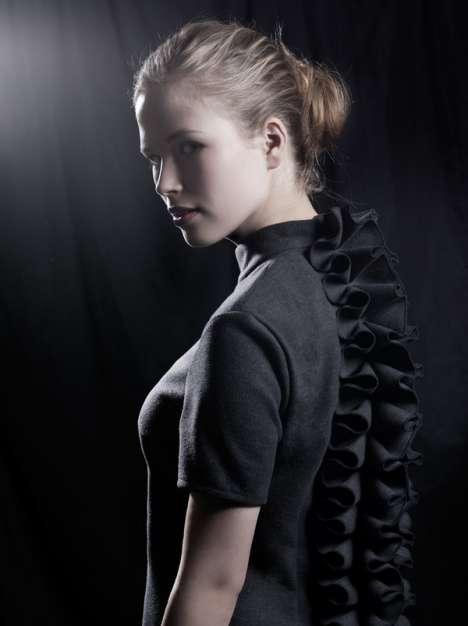 Ruffled-Spine Shift Dresses