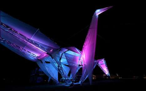 Giant Origami Cranes - The Coachella Music Festival Celebrates With Solar Crane
