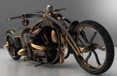 Spidery Steampunked Cycles - The Solifague Black Widow Chopper is Born to be Wild