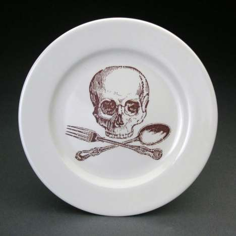 Deathly Dinnerware - Skulls and Crossbones on Plates and Cups